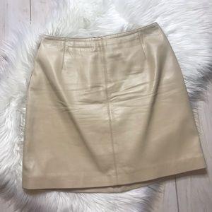 Hugo Buscati Tan Cream Leather Mini Skirt